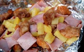 Ham and Pineapple Grill Packets With Cinnamon Sugar Bread