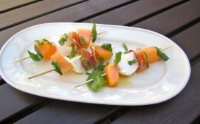 Melon Mozzarella and Prosciutto Skewers