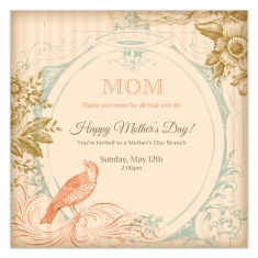 Mother's Day Invitation with Birds