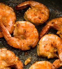 Shrimp Scampi Frying in Pan